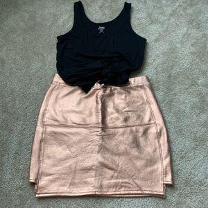 Metallic rose gold mini skirt